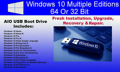 WINDOWS 10 PRO Home Education 64 or 32 bit on DVD OS only no product