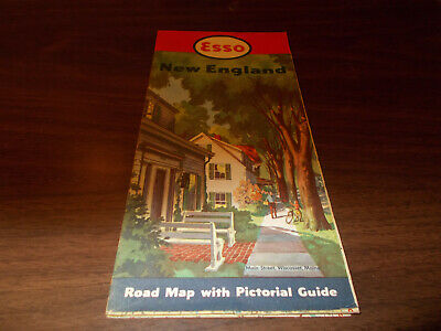 1950 Esso New England Vintage Road Map / Wiscasset, ME on Cover
