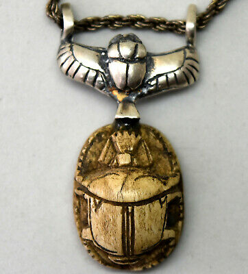 Ancient Egyptian Scarab and Sterling Silver Necklace Pendant