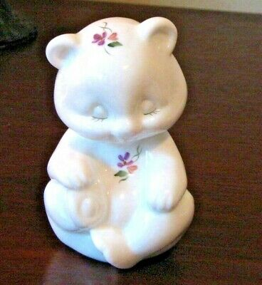 Fenton Milk Glass Bear Figure/Paperweight Lilac Accents Artist Signed FentonLogo