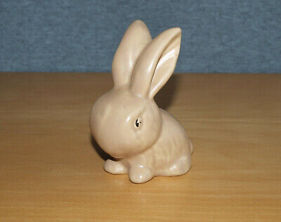 Small Vintage Beige Snub Nose Art Deco Pottery Rabbit, Unmarked, 10.5cm Tall