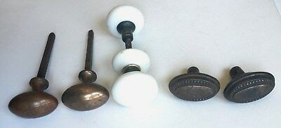 Antique Lot Of 6 Door Knobs ~ 4 Brass & 2 Porcelain Knobs With Stems