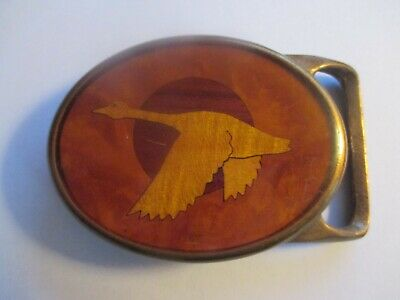 Vintage Goose/Hunting Belt Buckle Exotic Wood Inlay Solid Brass
