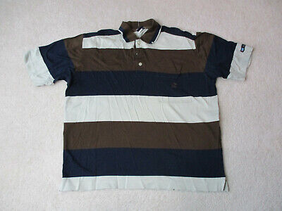 Paul & Shark Polo Shirt Adult Extra Large Blue Brown Striped Sailing Italy Men *