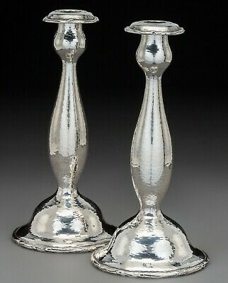 Pair Of Gorham Sterling Silver  Arts & Crafts Hand Hammered Candlesticks 1912