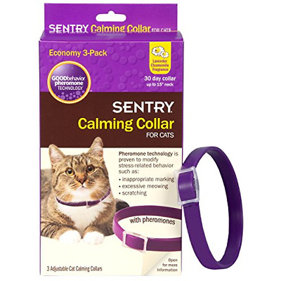 SENTRY Calming Collar for Cats, Up to 15-Inch Neck, Includes Three Cat Calming