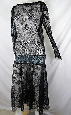 90s does 20s Style Chantilly Lace Dress Drop Waist Flapper Gypsy Goth Festival