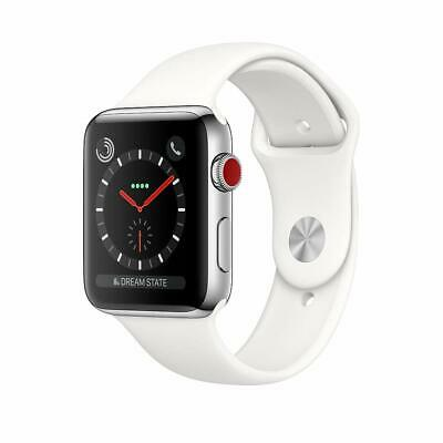 Apple Watch Series 3 (GPS+LTE) w/ 42MM Stainless Steel Case & White Sport Band