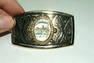 Vintage Pioneer Covered Wagon Inlaid Picture Gold and Silver Belt Buckle