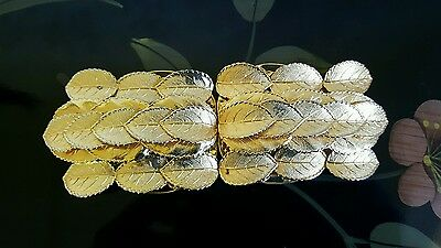 Vtg Gold Oranate Leaf Metal 2pc Belt Buckle 1970's or 80's 6in x 2.25in