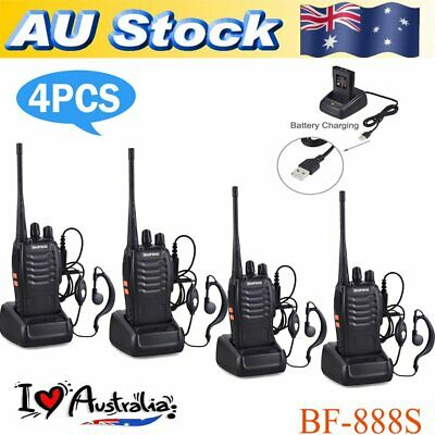 4x Portable Walkie Talkie UHF 400-470MHz 16CH BF-888S Two-Way Radio 5 km Xmas