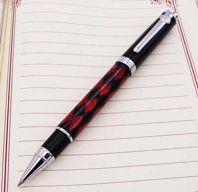 Duke Carbon Fiber Rollerball Pen with Ink Refill, Black & Red Rhombus Pattern