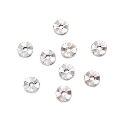100x Lead Free Flat Round Antique Silver Tibetan Style Spacer Beads Crafts 7x1mm