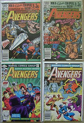 Avengers #215-216,#218,#220 Marvel Comics (4) Comic Run 1981 Avg VF Iron Man +