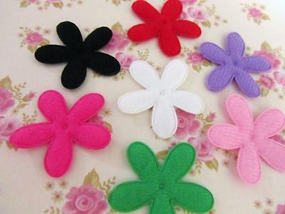 50 Pink /& Ivory Daisy Floral Cotton Fabric Flower Applique//doll//trim//Bow H347