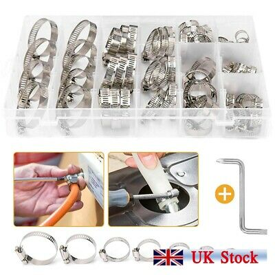 80PCS Assorted Hose Clamps Set Jubilee Clips Steel Pipe Clamps