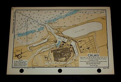 D-Day Preparation Map CALAIS, France, WW2 Naval Military 1943