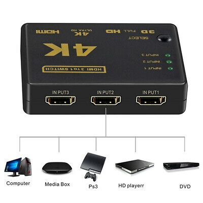 HD 3 In 1 Output HDMI Switch Splitter TV Switcher Adapter for HDTV PC UK -ME96