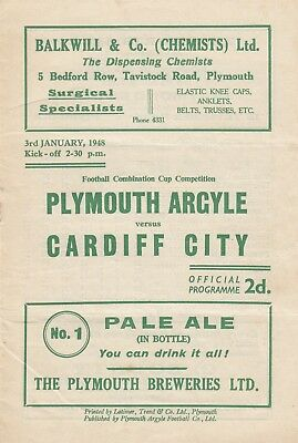 Plymouth Argyle Reserves v Cardiff City Reserves 1947/8 (3 Jan) Combination Cup