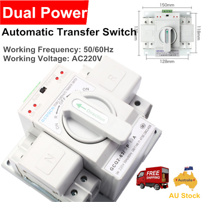Dual Power Automatic Transfer Switch Safe Toggle Switch 220V 63A 2P 50Hz / 60Hz