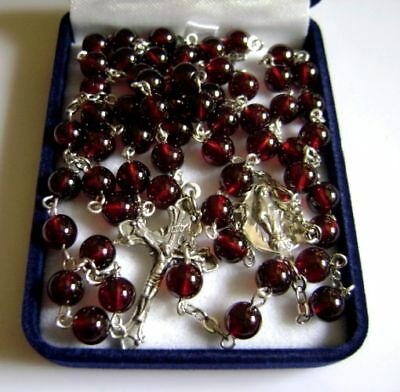 Sterling 925 Silver crucifix Garnet Gemstone Bead 5 DECADE ROSARY CROSS Necklace