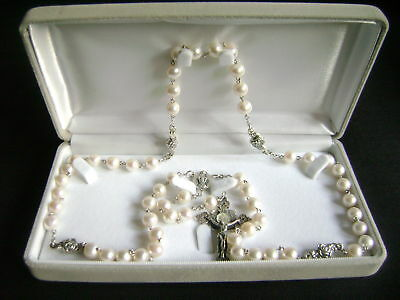 Rare Sterling Silver Real Pearl Beads ROSARY CRUCIFIX CATHOLIC NECKLACE GIFT BOX