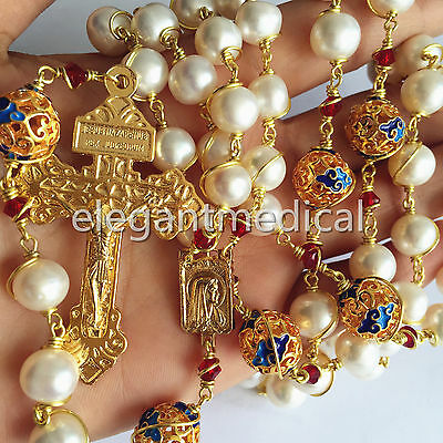 plated 14K gold Wire Wraped Bead AAA10mm Pearl Catholic Rosary Cross NECKLACE
