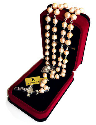 * Real 8MM Pearl pearls Rare Lourdes Water ROSARY NECKLACE CRUCIFIX CATHOLIC