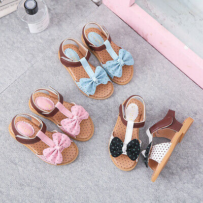 Children Toddler Kids Baby Girls Summer Bow-Knot Single Princess Shoes Sandals T