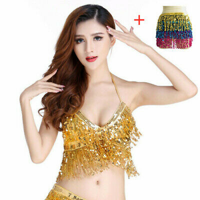 Belly Dance Dancer Set Costume Sequins Tassel Fringe Hip Scarf Waist Wrap Skirt