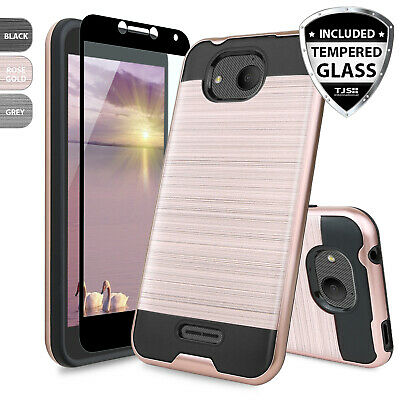 FOR ALCATEL TETRA Shockproof Slim Hard Cover Case + Tempered Glass