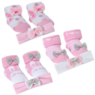 Baby Girls Three Pack Sock And Headband Sets 3 Socks 3 Headband Each Set