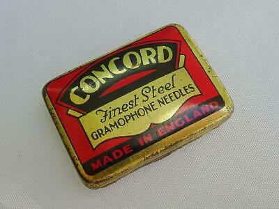Vintage Gramophone Needle Tin Concord Advertising 1930s Original Contents