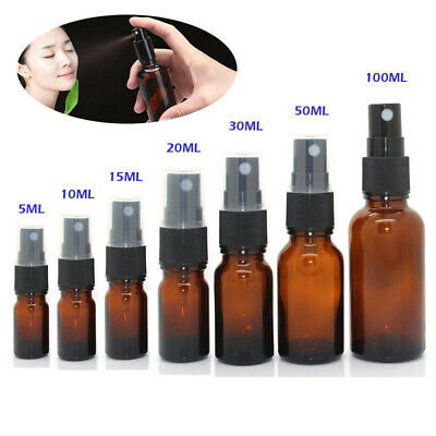 5Ml-100Ml Empty Amber Glass Bottle Essential Oil Mist Spray Container Case Newly