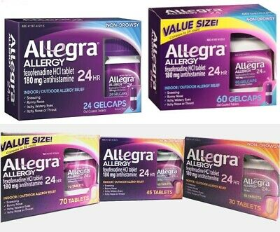 Allegra Allergy. A 24 Hr 180mg Allergy Relief Tablet. 70,45,30 or Gel Cap 60, 24