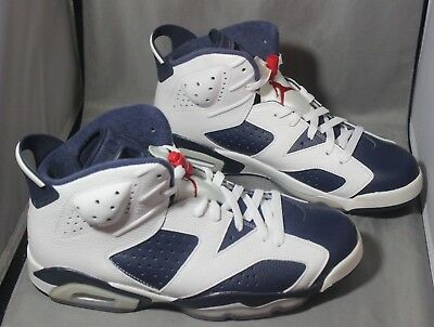 lowest price 2e95f 1a506 Nike Air Jordan 6 Retro 384664 130 Olympic White Navy Red Size 10.5