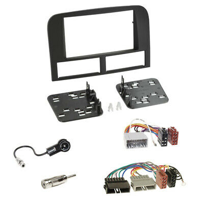 Doppel 2-DIN Blende+Adapterkabel+Antenne für Jeep Grand Cherokee (WJ) 1999–2004