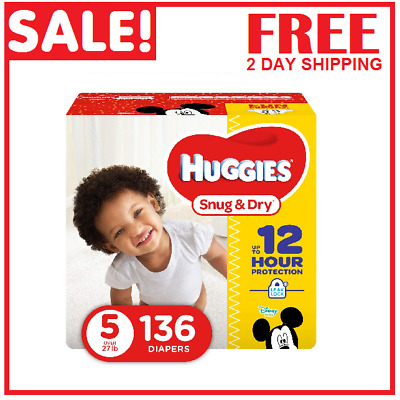 Diapers size 5 Huggies Snug&Dry Diapers Size 5 -136 count- Baby Diapers size 5