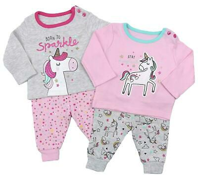 Baby Girls Pyjamas Two Pack Unicorn Mix And Match Ex Store PJs Snuggle Fit