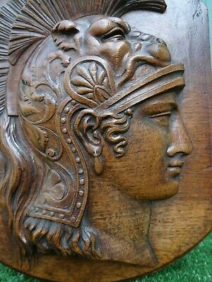 SUPERB EARLY 19thc. GOTHIC WOODEN OAK CARVED PANEL: HEAD OF ROMAN SOLDIER c1820s