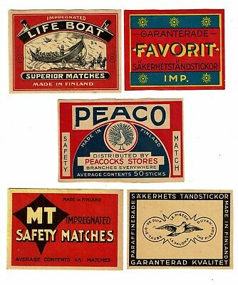 5 Old Finland c1900s packet matchbox labels Lifeboat, Peaco etc.