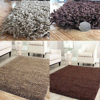 Beige Brown Soft Plain Shaggy Cheap Girls Rugs Small Large Non-Shed Mats Carpet
