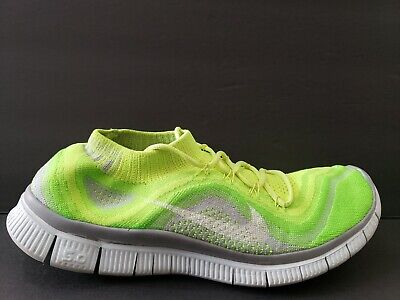 new concept 267bc 44cd4 Nike Free Run Flyknit Mens Size 10.5 Running Shoes Volt Grey White 615805  713
