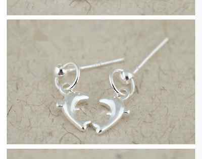Shiny 925 Sterling Silver Plt Dolphin Hang on Loop Drop/Dangle Earrings Gift UK