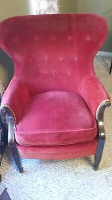 Antique Pair of beautiful Wing back Mahogany Chairs in burgundy velvet