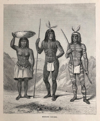 Rare Mohave Indians Body Paint Tattoo Native American Men Woman Engraving 1869