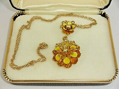 Vintage Double Pendant Flower Necklace Gold Tone Plated or Filled 1/20 12k
