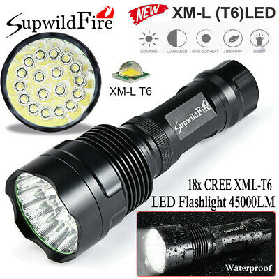 450000LM 18 x XM-L T6 LED 4 Modes Flashlight Torch 4 x 18650 Hunting Lamp Torch