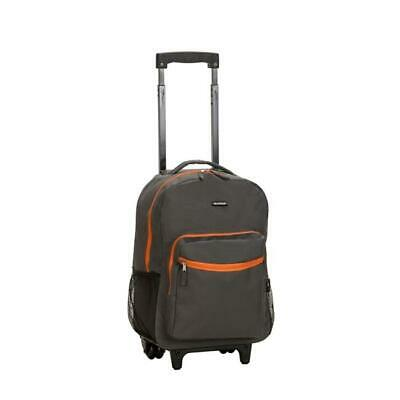 17 in. ROLLING BACKPACK - CHARCOAL Travel Luggage Bag With Wheels Tote Backpack