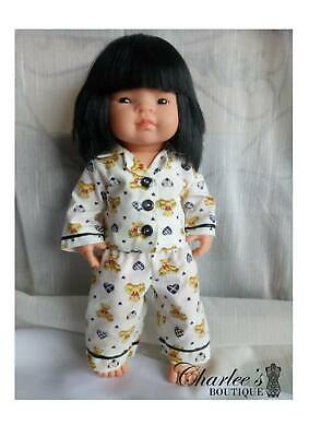 38cm Miniland doll pyjamas, teddy print (MADE IN PERTH)